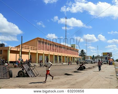 Quelimane, Mozambique - 7 December 2008: Street In The Village.