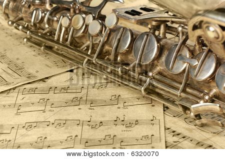 Old Saxophone And Notes