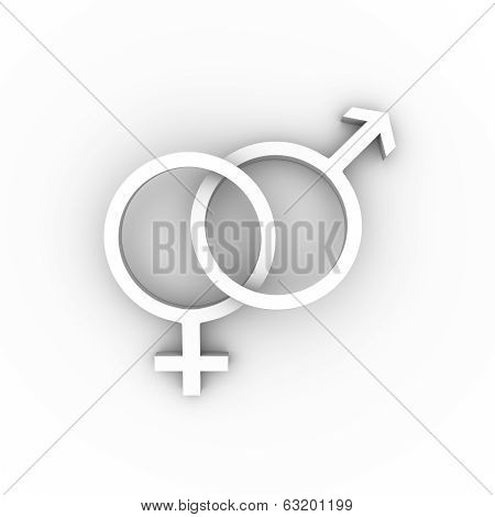 Female and male symbols in white