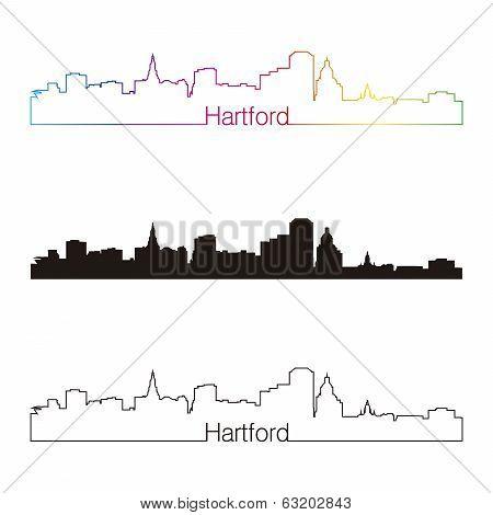 Hartford Skyline Linear Style With Rainbow