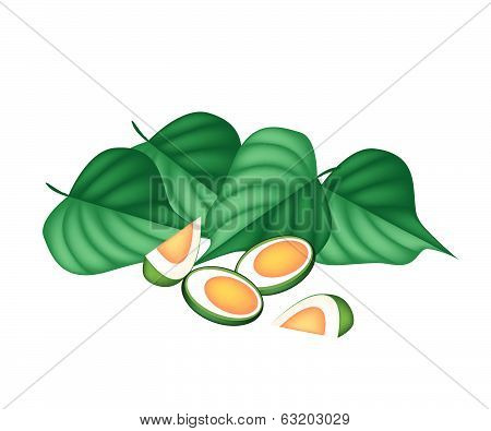 Areca Nuts And Betel Leaves On White Background