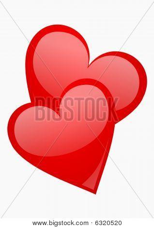 two red aqua hearts