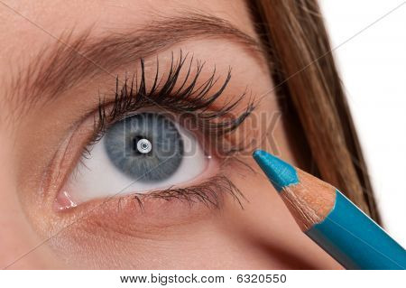 Blue Eye, Woman Applying Turqouise Make-up Pencil