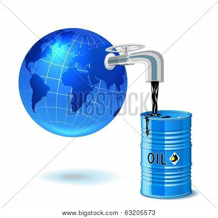 Metal Barrel With Oil, Faucet And Globe.