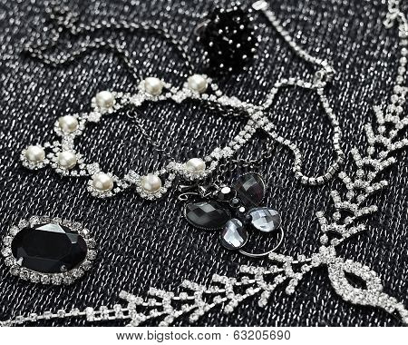 Silver  bracelets, pearl and necklaces