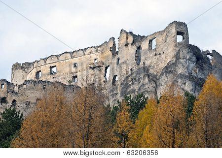 Ruins Of Lietava Castle With Autumn Trees