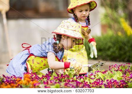 Little Girls In The Garden
