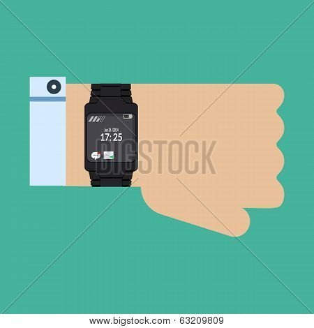 Male hand with smart watch