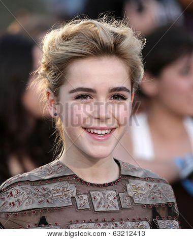 LOS ANGELES - MAR 18:  Kiernan Shipka arrives to the 'Divergent' Los Angeles Premiere  on March 18, 2014 in Westwood, CA