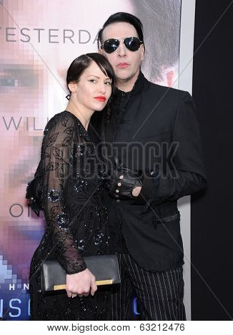 LOS ANGELES - APR 10:  Marilyn Manson & Lindsay Usich arrives to the 'Transcendence' Los Angeles Premiere  on April 10, 2014 in Westwood, CA