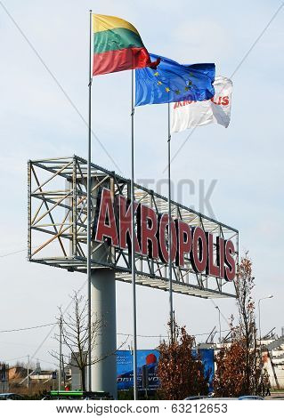 Akropolis Shopping Centre Sign On April 12, 2014, Vilnius, Lithuania.