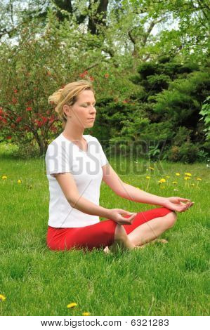 Young woman doing - meditation