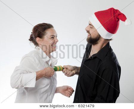 Playful Christmas couple