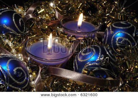 Christmas Still Life With Candles, Glare And Balls