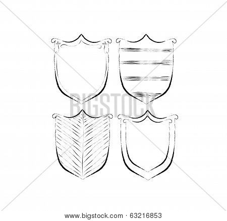 Hand drawn shields badges and banners art illustration