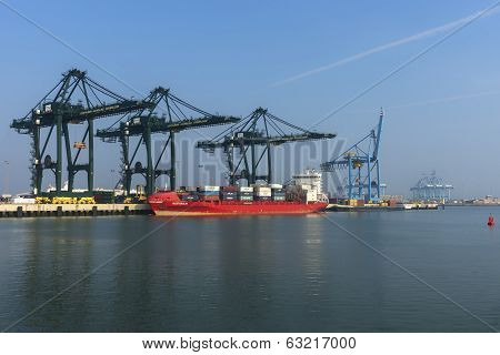 Wider View On Port Of Zeebrugge-seabruges.