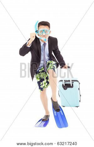 Funny Businessman Put On Scuba Gear And Ready To Run