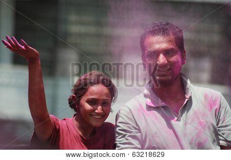Indian hindu family celebrate Holi festival