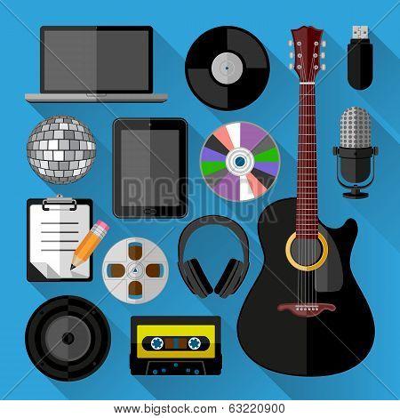 Music icons bundle. Flat design