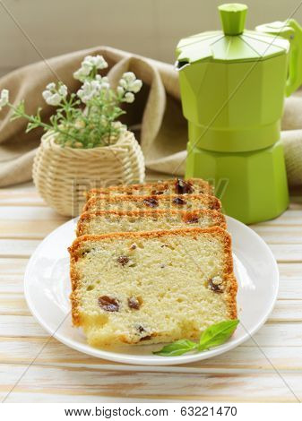 fruitcake with raisin on the plate
