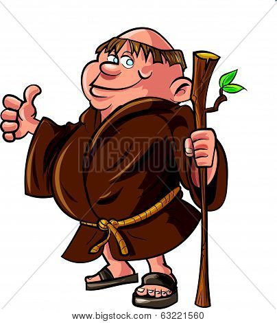 Cartoon monk holding a stick.