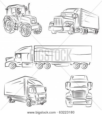 Beautifull vectio illustration of Lorry and truck