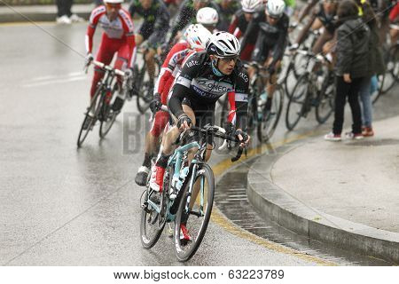 BARCELONA - 30, MARCH: Petr Vakoc of Omega Pharma-Quick Step Team rides during the Tour of Catalonia cycling race through the streets of Monjuich mountain in Barcelona on March 30, 2014
