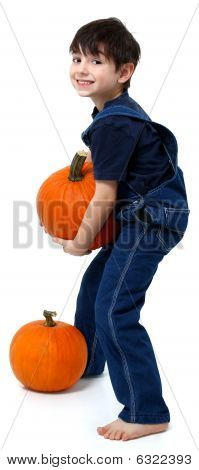 Boy Picking Pumpkins
