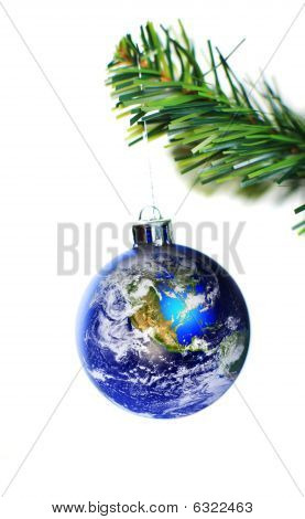 Earth Decoration Hanging On Christmas Tree