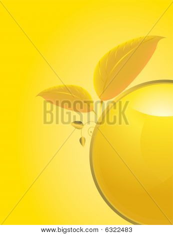 Yellow Gold Abstract Leaf Background 1