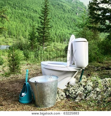 Ceramic New Toilet In The Woods