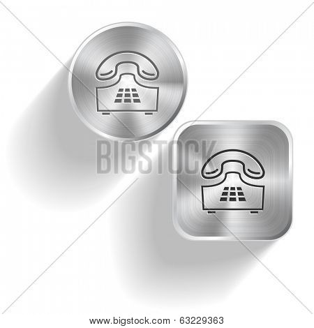 Push-button telephone. Vector set steel buttons