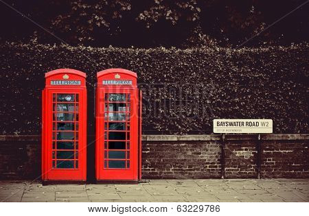 Telephone box in London street.