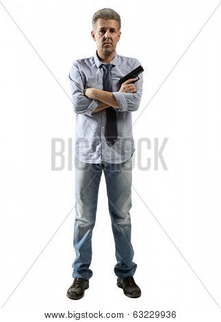 Man with gun portrait over isolated background. Full body