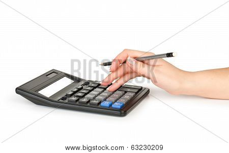 hand with pen counting on calculator isolated on white
