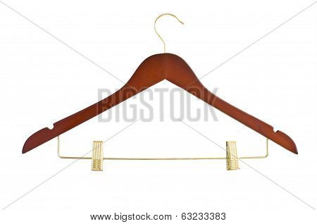 Coat hanger on clothes a rail against white