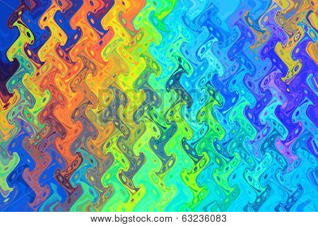 Color Background and Abstract Art - Rainbow Blue Waves