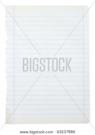 page ripped off from the notebook insulated on white background