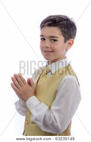 Young Boy Praying In His First Communion