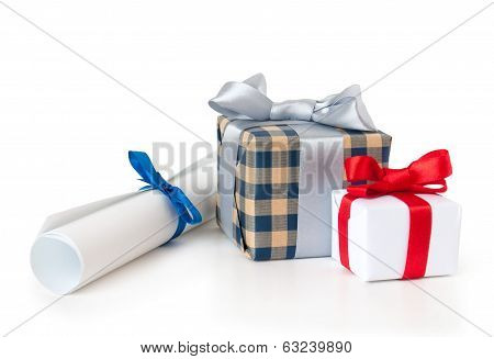 gift box with roll of paper on white background