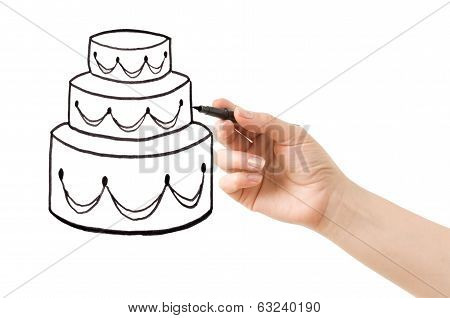 hand srawing cake isolated on white