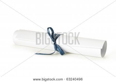 roll white paper with ribbon on isolated white background
