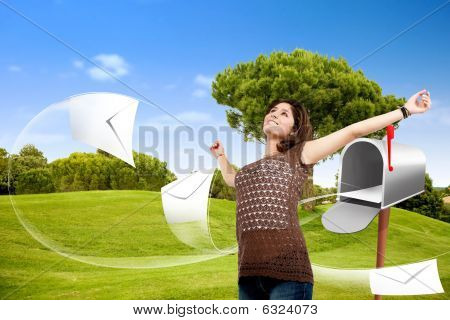 Beautiful Woman With A Mailbox