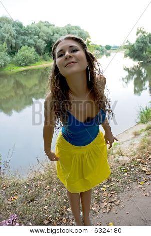 Beautiful Girl Cheerfully Smiles