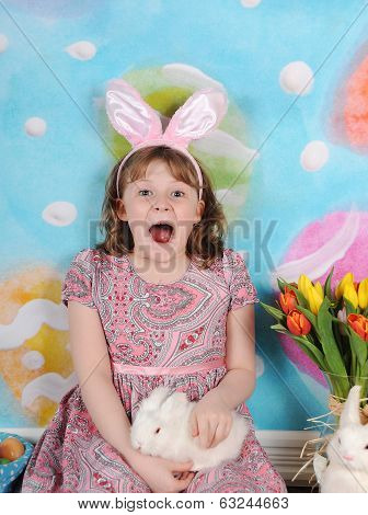 girl very excited for easter