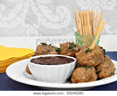 Swedish Meatballs And Sauce As An Appetizer.