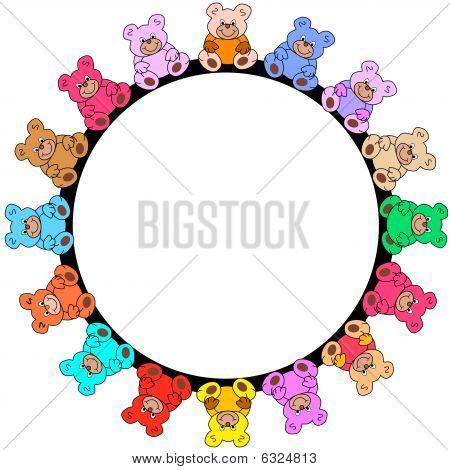 round border out of colored teddies