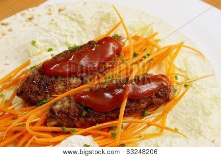 kebab with carrots