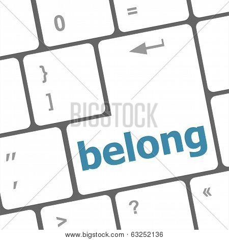 Belong Word On Keyboard Key, Notebook Computer Button