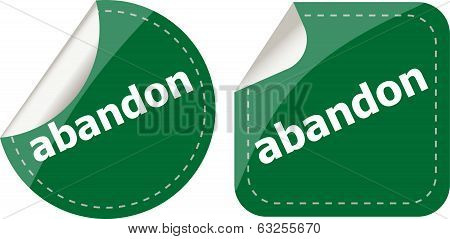 Abandon Word Stickers Set Icon Button Isolated On White